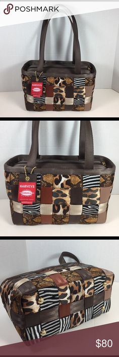 """Harvey's Original Seatbelt Bag Harvey's Seatbelt Animal Print Patchwork Bag with Tag. Very gently used and in excellent condition! L12xH6xD6 with 11"""" handle drop. Gold hardware. Zip closure with 2 interior pockets. Harvey's Original Seatbelt Bags Bags Satchels"""