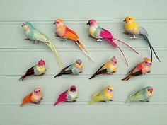 set of 12 feather bird clip decorations by petra boase | notonthehighstreet.com