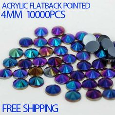 Free shipping 10000pcs 4mm Acrylic rhinestones ab colors flatback pointed perfect for nail art and bling phone case diy dec.