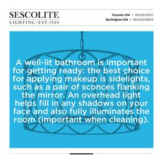 A well-lit #bathroom is important for getting ready: the best choice for applying #makeup is sidelights, such as a pair of sconces flanking the mirror. An overhead light helps fill in any shadows on your face and also fully illuminates the room (important when cleaning). #lighting #tip #decorative