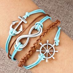 Infinity Bracelet Wheel Anchor Aquamarine Blue Braided Leather Rope Pugster.com