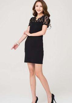 607e811b1a2 Women Cute Summer Crew Neck Short Sleeve Above Knee Black Lace Dress