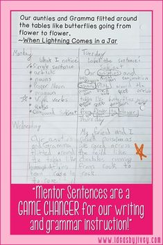 More and more teachers are discovering each day that teaching with mentor sentences is the perfect way to teach grammar and author's craft! Students will improve their writing and grammar understanding as they learn from the amazing authors of your favorite books! mentor sentences, grammar, sentence structure, mentor texts