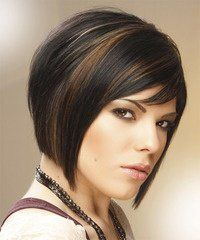 Medium Straight Formal Bob Hairstyle with Side Swept Bangs - Black Caramel Hair Color with Brunette Highlights concave bob Long Pixie Hairstyles, Straight Hairstyles, Formal Hairstyles, Hair Color Dark, Dark Hair, Hair Colour, Hair Color Ideas For Brunettes Short, Hair Color Caramel, Carmel Color