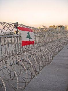 barbed wire, Beirut, civil war, flag, Lebanon, politics, sectarian, segregation, separation, strife, war