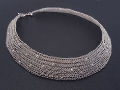 Crocheted necklace made of pure silver wire with por SelwerJewelry