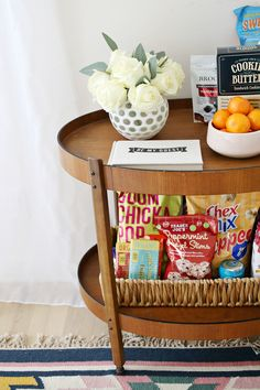 How to Set Up the Ultimate Guest Room - A Beautiful Mess - Guest room cart with guest book to sign & snacks - Basement Guest Rooms, Guest Room Decor, Guest Room Office, Guest Bedrooms, Spare Bedroom Decor, Bedroom Furniture, Furniture Ideas, Cottage Bedrooms, Bedroom Colors