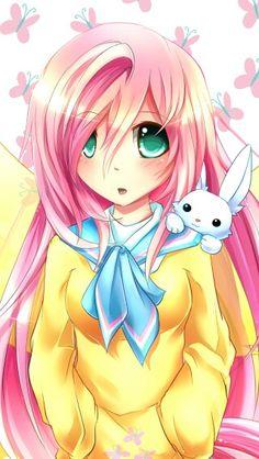 Anime fluttershy sooo cute