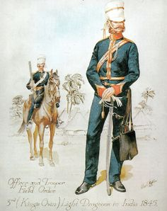 Officer & Trooper 3rd Kings Own Light Dragoons Field Order India 1845, 1st Sikh War - Artist Stadden C