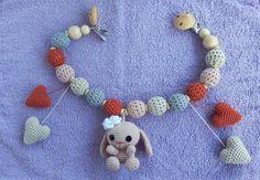 Crochet Chain, Cute Crochet, Crochet Necklace, Toy Pram, Handmade Baby, Handmade Gifts, Crochet Baby Toys, Babyshower, Barn