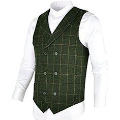 14c1307037c BOTVELA Mens 100% Wool Suit Vest Herringbone Tweed Vintage Check Waistcoat  with Lapel
