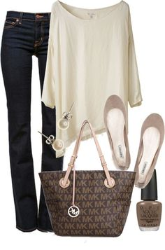 Love the cut of the jeans, sweater and bag