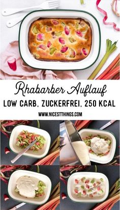 Rhubarb casserole low carb, low in calories and sugar free - nicest things - Low Carb Recipes Sugar Free Recipes, Low Carb Recipes, Vegetarian Recipes, Healthy Recipes, Salad Recipes, Healthy Protein, Evening Meals, Keto Snacks, Keto Dinner