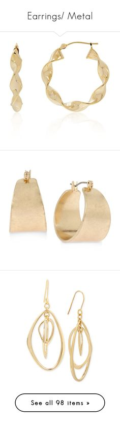 """Earrings/ Metal"" by thesassystewart on Polyvore featuring jewelry, earrings, gold, yellow gold jewelry, gold twist earrings, gold jewellery, gold earrings jewelry, hoop earrings, goldtone jewelry and gold tone jewelry"