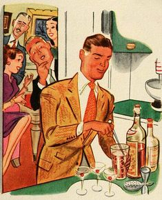 Mid century home bartender stirring up cocktails for his cocktail party guests illustration. Cheers!