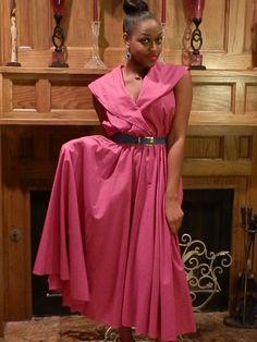 Vintage Pink Maxi Dress  AnnDavisDesign on Etsy.com