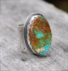Grand Manassa Turquoise Southwest Silver Ring door TheStrayArrow
