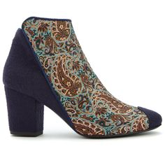 "I am the ""Eden of Yazd"", an Ankle Boot hand made in Italy with luxury Italian wool and unique hand woven silk fabric from the ancient city of Yazd, the capital of Termeh fabric weaving in Iran going back to 2500 years ago. My features are inspired by geometric architecture of the Ancient Persia, and my inner lining and sole are made with premium Italian leather, making me soft and comfortable from the day I was born.  I am a beautiful fusion of the East and the West with the mission of…"