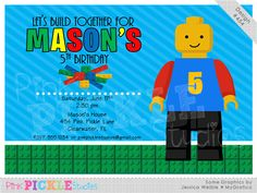 Building Blocks 5 Personalized Party Invitation-personalized invitation, photo card, photo invitation, digital, party invitation, birthday, shower, announcement, printable, print, diy, toys, lego