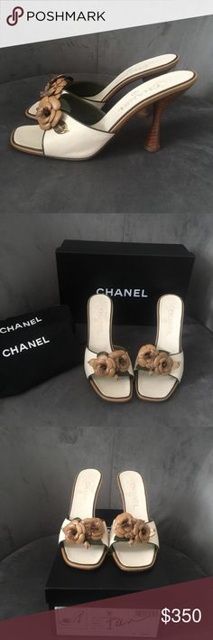 Chanel Classic Tan Mules 37 Euro / 7 US A very feminine show which was only worn once! Barely any wear and tear. CHANEL Shoes Heels