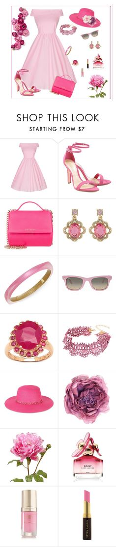 """""""For the Love of Pink"""" by mary-kay-de-jesus ❤ liked on Polyvore featuring Schutz, Givenchy, Carolee, Alexis Bittar, Ray-Ban, Malaika, WithChic, August Hat, Gucci and Marc Jacobs"""