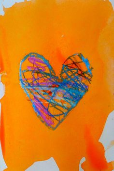 Warm/Cool Hearts with Jim Dine - oil pastels for central drawing; watercolour background in opposite colours
