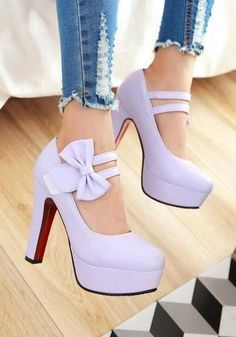 Purple Round Toe Chunky Bow Fashion Chaussures à talons hauts - Hot Shoes - . Prom Heels, High Heels Stilettos, Stiletto Heels, Classy Heels, Black Heels, Hot Shoes, Women's Shoes, Dress Shoes, Aldo Shoes
