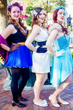Frozen Dapper Day Disneybound/Dapperbound outfits. Anna and Elsa outfits designed and made by Angi Viper. Olaf styled by Angi. Olaf bow by Angi. Katherine Crown as Anna, Angi as Elsa, Cosplay Tay as Olaf. Photo by York in a Box