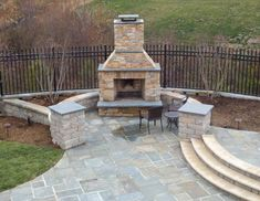 patio designs | Beautiful Pool with Bluestone Patios and Stone Fireplace Project