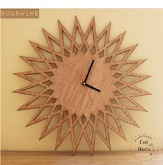 Sunshine Wall Clock by CutOutsProductDesign on Etsy Clock Art, Diy Clock, Wooden Wall Art, Wooden Walls, Decorative Household Items, Laser Cut Mdf, Laser Cutting, Kitchen Wall Clocks, Sun Designs