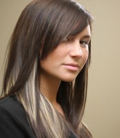 I want this hair, a bit darker brown, and bright red (rihanna red) peek a boo highlights :)