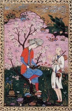 Aristocrate conversant avec un jeune derviche, artiste anonyme, miniature, Qazvîn, vers 1590. Collection du prince Sadruddin Aga Khan, Genève.