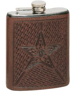 Leather Wrapped Flask -Basket/Star Pattern