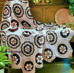 INSTANT DOWNLOAD PDF CROCHET PATTERN FOR A WILDFLOWER AFGHAN This vintage 1970s US crochet pattern for a beautiful granny hexagon motif afghan throw has been digitally cleaned and enlarged for ease of use. This pretty blanket is made from flat and puff hexagons with a floral design. The raised flower petals add beautiful detail. Lovely in shades or rose pink, burgundy and cameo - but would look good in lots of other color schemes Worsted weight or Double Knitting yarn and 5.00 mm croche...