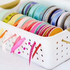 Organize your crafty stuff with a ribbon holder. #crafts #getorganized