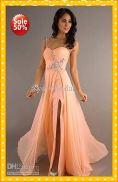 Wholesale 2013 Custom Peach Coral Cap Short Sleeves Chiffon Empire Ruffles Crystal Beaded Prom Dress Evening Bridesmaid Party Formal Dresses Gown 2013, Free shipping, $100.8-129.92/Piece   DHgate