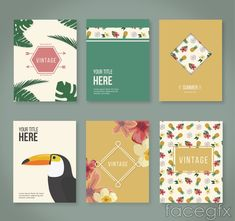 Free download 6 tropical flower cards vector . Free vector includes Palm trees, pineapple, coconut, coconut water, card, Toco Toucan, flowers, advertising desig