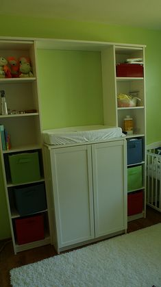 What a great idea! Changing table made out of IKEA Billy bookcases...then you have bookcases to use as your child gets older.