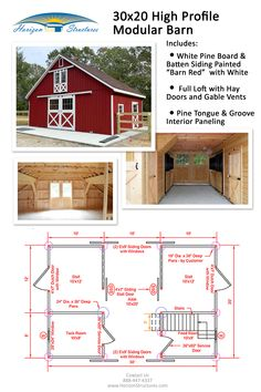 Modular Barn with Loft This modular barn has everything you need for horse-keeping on a smaller property. Request our price list and catalog! Small Barn Plans, Small Horse Barns, Horse Barn Plans, Horse Barn Designs, Goat Barn, Farm Barn, Barn Layout, Backyard Barn, Horse Shelter