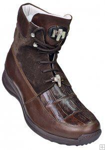 Mauri 8790 Brown Genuine Alligator / Suede Casual Boots