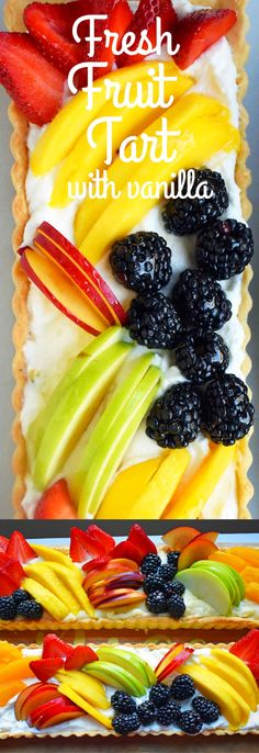 Fresh Fruit Tart with Vanilla Pastry Cream. A flaky, buttery baked and filled with sweet homemade vanilla pastry cream and topped with fresh fruit. A classic French dessert that is a crowd pleaser. Everyone loves this fruit tart! www.modernhoney.com