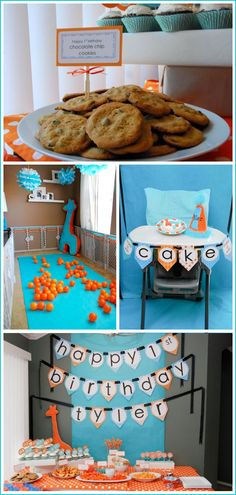 Giraffe Blue And Orange First Birthday Party Ideaskass This Is Cuuuuuute