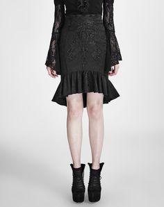 #AdoreWe #VIPme Skirts❤️Designer PUNK RAVE Black Bodycon Crochet Ruffle Mermaid Midi Skirt - AdoreWe.com