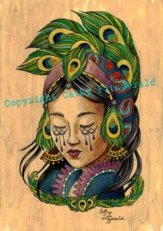 A4 Peacock Tattoo Girl with coffee wash background - cardstock art print. $12.00, via Etsy.