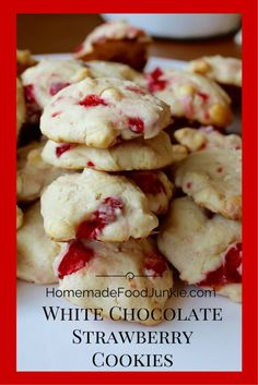 White Chocolate Strawberry Cookies by HomemadeFoodJunkie.com