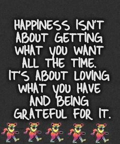 Happiness isn't about getting what you wan all the time.  It's about loving what you have and being grateful for it.