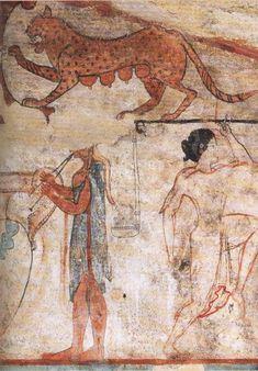 Tarquinia, tombe des Lionnes, mur du fond, Lionne, Aulete et Danseuse, vers 520 av JC (musee de Lyon).