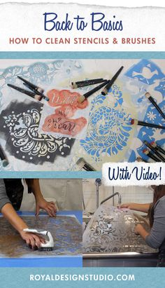 Learn how to properly clean paint off your stencils and stencil brushes with this DIY tutorial video. This is the easiest and fastest way to scrub paint off!