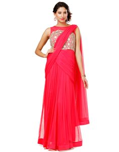 c0cf954fd3e Buy Eavan Rose Colour Draped Saree Gown at Best price online in india