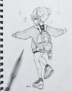 Me gusta, 30 comentarios - Yoai / Anny / Cicishu ( Anime Drawings Sketches, Dark Art Drawings, Anime Sketch, Kawaii Drawings, Cute Drawings, Pencil Drawings, Cartoon Art Styles, Cute Art Styles, Art Manga